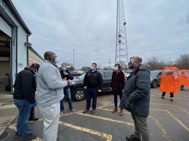 Senator Martwick Visits IDPH COVID-19 Testing Site with Alderman Sposato, Rep. LaPointe, and Norwood Park Fire Protection District Trustee Avino